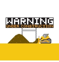 Pixel art style warning anded construction vector image vector image