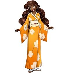 African Woman In Yellow Kimono vector image