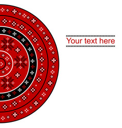 card with round embroidered design vector image
