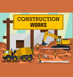 construction works a group of engineers workers vector image