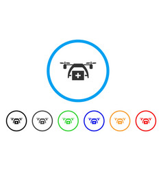 first aid drone rounded icon vector image vector image