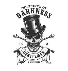 gentlemen emblem with skull and top hat vector image vector image