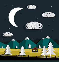 night landscape paper cut trees and clouds vector image vector image