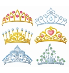 Set of princess crowns tiara isolated on white vector