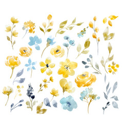 watercolor floral set vector image vector image