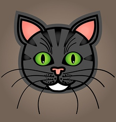 Cartoon grey tabby cat vector