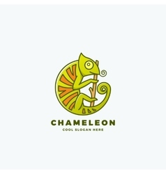 Chameleon on the Branch in a Circle Shape vector image