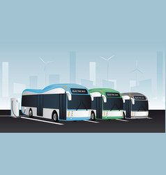 electric buses in a row vector image