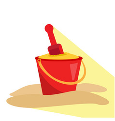 isolated sand bucket and shovel vector image