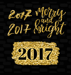 Merry and bright lettering and numbers 2017 vector