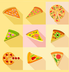 pizza from around the world icons set flat style vector image