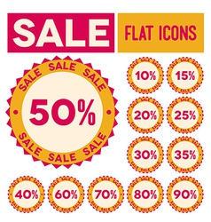 Set of flat sale labels vector image