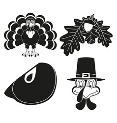 4 black and white thanksgiving silhouette elements vector
