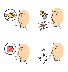 Allergies color icons set vector