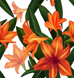 amaryllis seamless pattern vector image