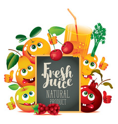 banner for fresh juice with funny fruits vector image vector image