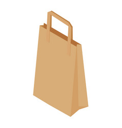 brown recycled paper shopping bag on white vector image
