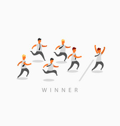 business man crossing finish line finishing first vector image