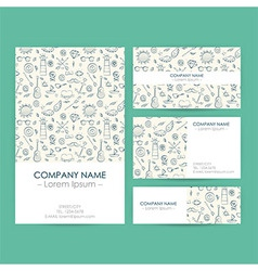 Business Set Template with Hand Drawn Marine vector image