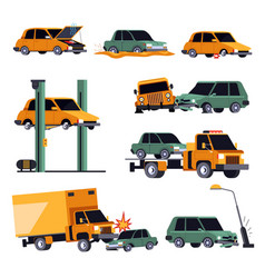 car crash or road accident isolated icons vehicle vector image