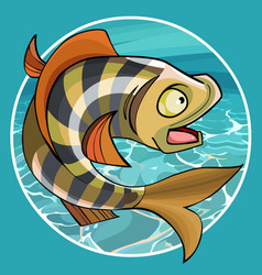 Cartoon funny fish perch in a circle vector