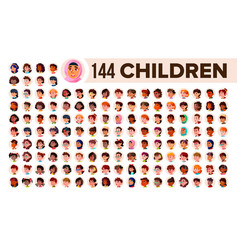 children avatar set child girl guy multi vector image