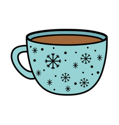 chocolate cup snowflakes decoration merry vector image