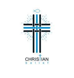 Christianity cross true belief in jesus symbol vector