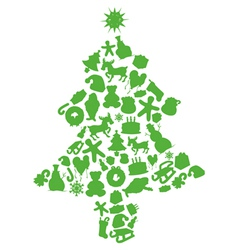 christmas tree made by items silhouettes vector image