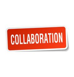 Collaboration square sticker on white vector