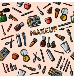 Color hand drawn makeup pattern - mascara polish vector image