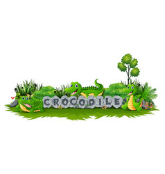 crocodile is playing together in garden vector image