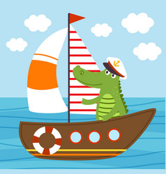 crocodile on ship sailing sea vector image