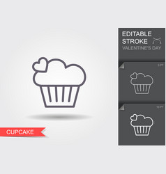 cupcake line icon with editable stroke vector image