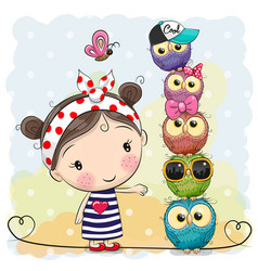 Cute cartoon girl and owls on a blue background vector
