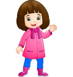 cute little girl wearing winter clothes vector image