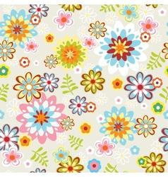 cute seamless flower pattern line art vector image