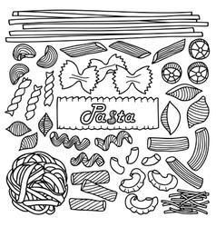 Different types pasta vector