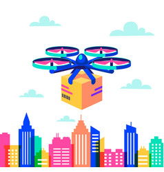 Drone over city landscape remote air drone with vector