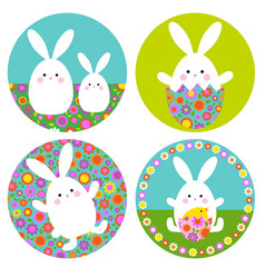 easter bunny graphics with floral patterns on vector image