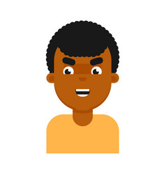 evil facial expression of black boy avatar vector image