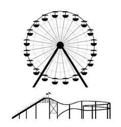 Ferris wheel and roller coaster silhouette vector