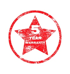 Five year warranty red grungy stamp vector