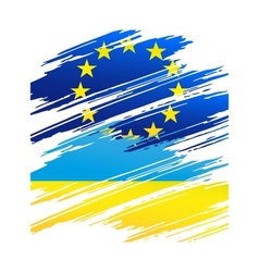 Flag Ukraine and European Union in the form traces vector