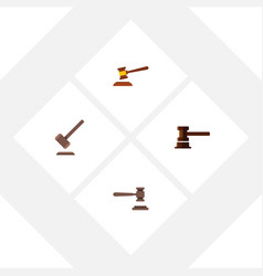 flat icon court set of hammer legal government vector image