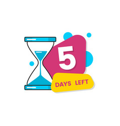 flat isolated 5 days left sticker for limited vector image
