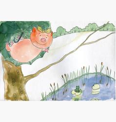 Flying pig on tree vector