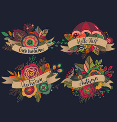 Four autumn bouquets with ribbons vector