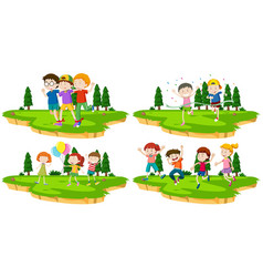 four scenes of kids playing games in park vector image
