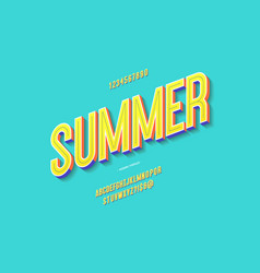 fun summer font 3d bold color style vector image